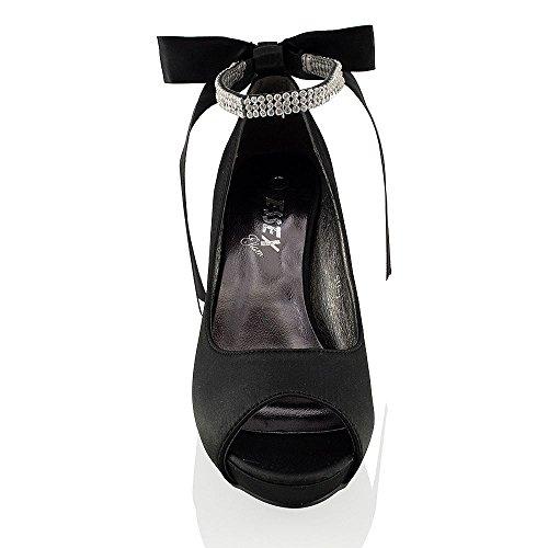 Essex Glam Vrouwen Platfrom Hak Bruids Satijnen Schoenen Zwart Satijn