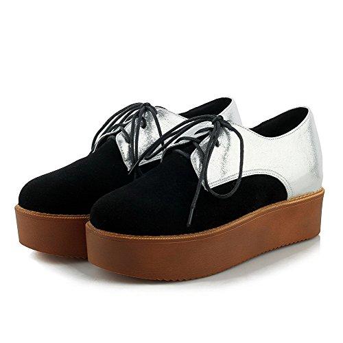 Amoonyfashion Dames Veterschoen Rond Gesloten Neus Lage Hakken Assorti Kleur Pumps-schoenen Zwart