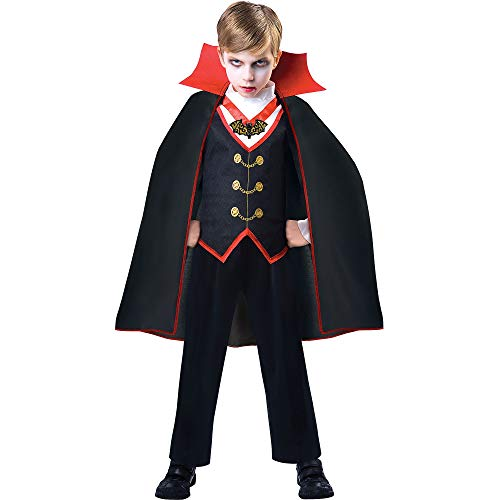Suit Yourself Dracula Costume for Boys, Size Medium, Includes a Shirt with an Attached Vest and a Matching Cape -