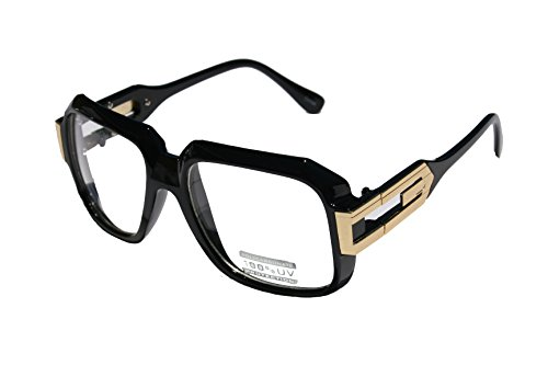 Large Classic Retro Square Frame Clear Lens Glasses with Gold Accent (Gloss Black Gold) -