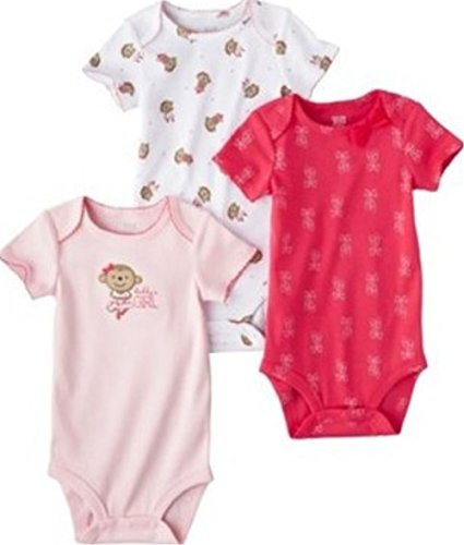 (Carters Baby Girls 3 Pack Pink Bodysuits Monkey Daddys Girl (Nb-24 Months) (9 Months))