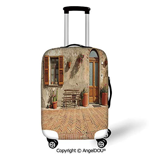 AngelDOU Fashion Elastic Fabric Luggage Protective Cover Tuscan Medieval Facade Rustic Wooden Door Ancient Brick Wall in Small Village Tan and Light Cinnamon Suitable18-28 Inch Trolley Case - Tuscan 28 Light