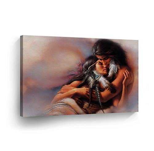 SmileArtDesign Indian Wall Art Native American Lovers Canvas Print Home Decor Decorative Artwork Gallery Wrapped Wood Stretched and Ready to Hang -%100 Handmade in The USA - - Native American Home