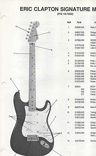 Parts List Diagram for FENDER Eric Clapton Signature Model Stratocaster Electric Guitar (p/n 0-7602)