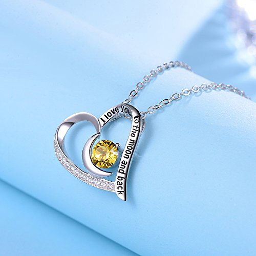 Elda&Co I Love You to The Moon and Back Heart Pendant November Birthstone Yellow Citrine Swarovski Necklace Sterling Silver Fine Jewelry Birthday Gift for Women for Her by Elda&Co (Image #3)