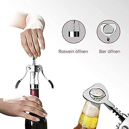 Abrebotellas 100% acero inoxidable, multifunción, 2 en 1, sacacorchos para botellas de vino, abridor de botellas con abrebotellas (plateado)