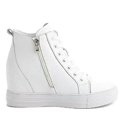 High-Top Sneaker Damenschuhe Keilabsatz/ Wedge Lace-Up Freizeitschuhe Weiß
