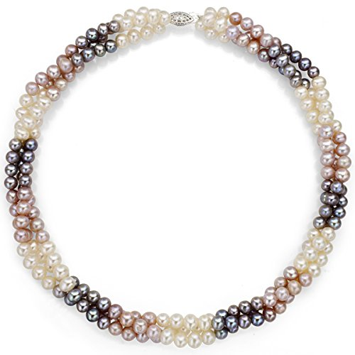 Necklace Twisted Pearl Cultured (Sterling Silver 5-5.5mm Dyed Multicolor Freshwater Cultured Pearl Twisted 3rows Choker Necklace, 16
