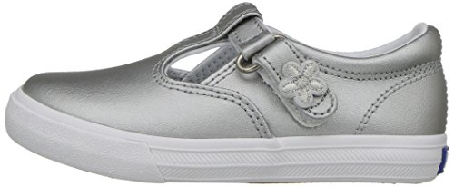 Keds Daphne T-Strap Sneaker (Toddler/Little Kid), Silver/Silver, 5.5 M US Toddler by Keds (Image #5)
