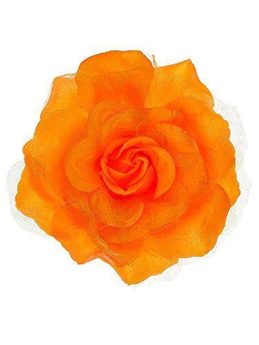 NYFASHION101 Women's Multifunction Rose Flower Sheer Petal Brooch Pin Hair Tie Clip, Orange ()