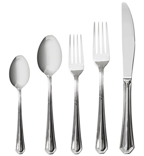 Italian Collection 'Diamond' 20-Pc Premium Silverware Flatware Serving Set, Service for 4, 18/10 Stainless Steel Silver Plated Dining Flatware