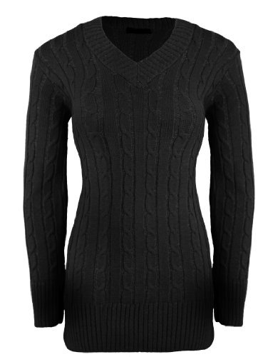 VACANCES VALISE dames noire pour femmes Tricot Torsadéépais pull coton