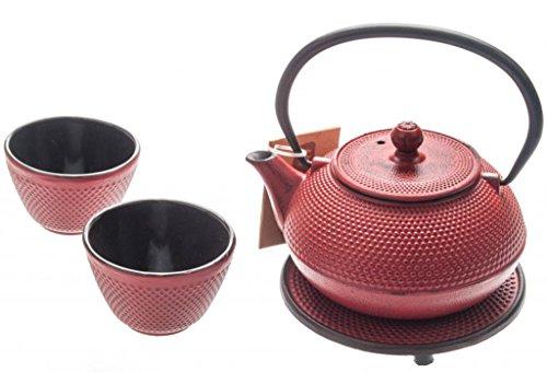 M.V. Trading New Star International T8020 Cast Iron ARR Tea Set with Trivet, 21 oz, Red -