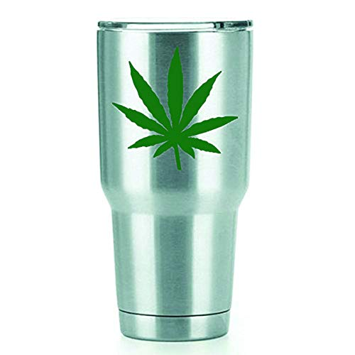 Marijuana Leaf Vinyl Decals Stickers (2 Pack!!!) | Yeti Tumbler Cup Ozark Trail RTIC Orca | Decals Only! Cup not Included! | 2-3 inch Green Decals | - Pipe Trail Oregon