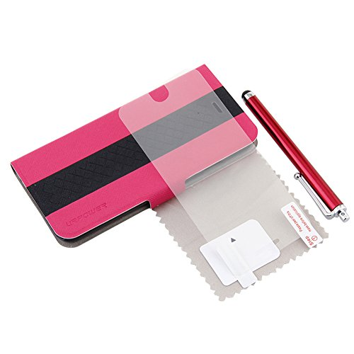 Gdealer 4.7 inch Stand Carrying Case and Cover with Card Slots for iPhone 6 4.7'' (Screen Protector + Stylus Pen + Cleaning Cloth + Application Card) (rose red/black)