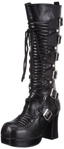 Demonia by Pleaser Women's Gothika-200 Platform Boot,Black PU,7 M US Demonias Knee Boots