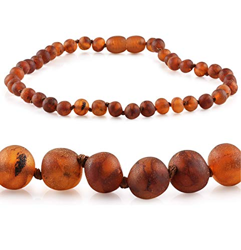 "Raw Baltic Amber Necklace - Premium Grade (Raw Cognac - Unisex) Anti-inflammatory - Natural Pain Relief - Hand Crafted Certified Amber Necklace in 3 Sizes for Baby, Toddler, Kid/Child/Teen (14-15"")"