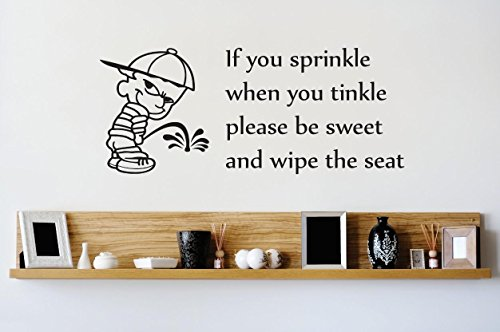Design with Vinyl 1 Zzz 442 Decor Item if You Sprinkle When You Tinkle Please be Sweet and Wipe The Seat Bathroom Image Quote Wall Decal Sticker, 12 x 18-Inch, ()