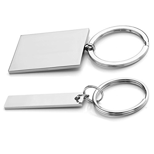 Personalized Master 2pcs Stainless Steel Jigsaw Puzzle Heart Matching Pendant Couple Keychain/Necklace Set, Key Ring For His and Hers Lovers Valentine's Best Friend Gift