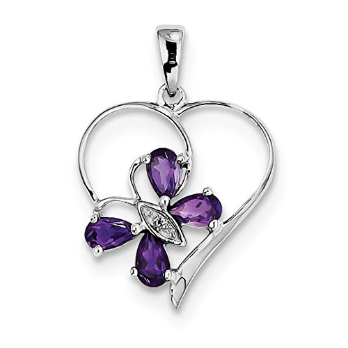 ICE CARATS 925 Sterling Silver Purple Amethyst Diamond Butterfly Heart Pendant Charm Necklace Gemstone Love Fine Jewelry Ideal Gifts For Women Gift Set From (Silver Butterfly Heart)