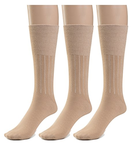Mens Diabetic Loose Top - Silky Toes 3 or 6 Pk Men's Diabetic Non-Binding Cotton Dress Socks, Multi Colors Also Available in Plus Sizes... (10-13, Tan - 3 Pairs)