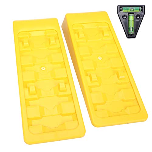 Homeon Wheels RV Leveling Blocks Wheel Chocks Trailer Leveler Blocks for Trailers Campers, Heavy Duty Camper Leveler Up to 3.8 inches, Tire Chocks for Caravan Truck Van SUV Cars 2 Pack with RV T Level (Links Levelers)