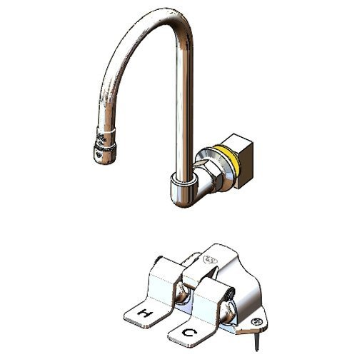 T&S Brass B-0502-537K Floor-Mounted Double Pedal Valve with Dummy Rigid Gooseneck and Short ()