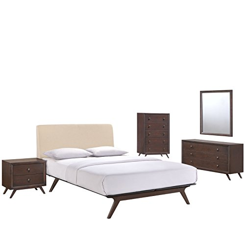 Modway Tracy Mid-Century Modern Wood Platform Queen Size Bed with a Nightstand, Mirror, Chest and Dresser in Cappuccino Beige