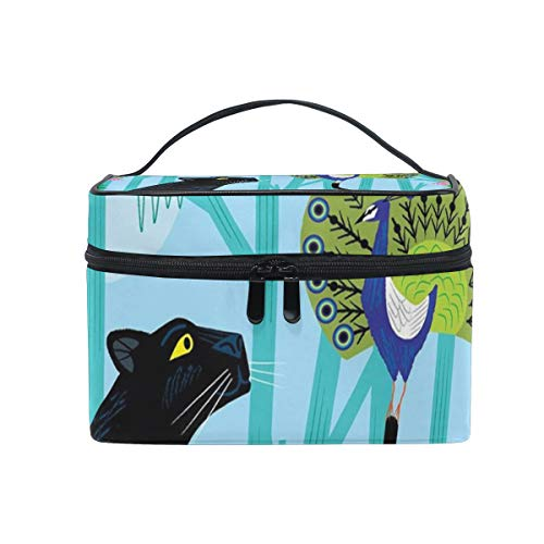 Makeup Cosmetic Bag Jungle Animal Panther Fun With Peacock Portable Storage with Zipper