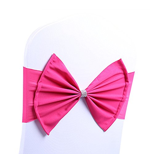 ARKSU Chair Sash Band with Bow Ties Elastic Spandex Cover for Wedding Decor (50 Packs,hot Pink) ()