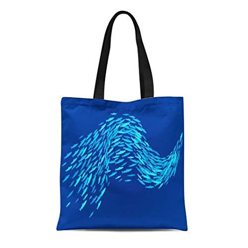Semtomn Canvas Tote Bag Shoulder Bags Underwater Blue Group School of Fish Swirl Aqua Flow Women's Handle Shoulder Tote Shopper Handbag