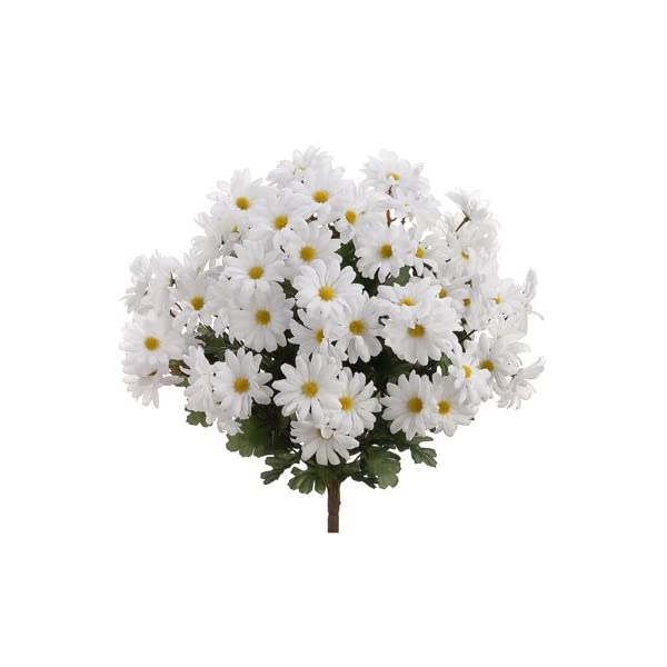 19″ Artificial Daisy Flower Bushe in White, with No Pot, (Pack of 3)