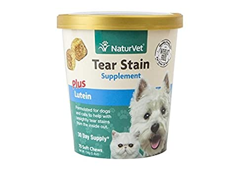 NaturVet TEAR STAIN Removal Plus Lutein Dog Soft Chew 70 ct