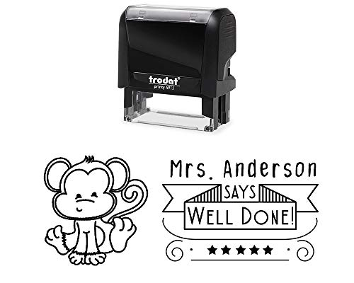 - Classroom Teacher Rubber Stamp, Self-Inking Personalized. Well Done, with Banner, Five Stars and a Monkey Image. Variety of Designs, 5 Ink Colors, 3 Lines, All Wording can be Changed!