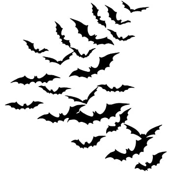 sumind diy 48 pieces 3d bats halloween accessories kit halloween party supplies for home window wall decoration black - Halloween Wall Decorations