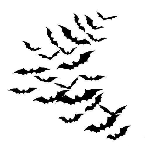 Sumind DIY 48 Pieces 3D Bats Halloween Accessories Kit, Halloween Party Supplies for Home Window Wall Decoration