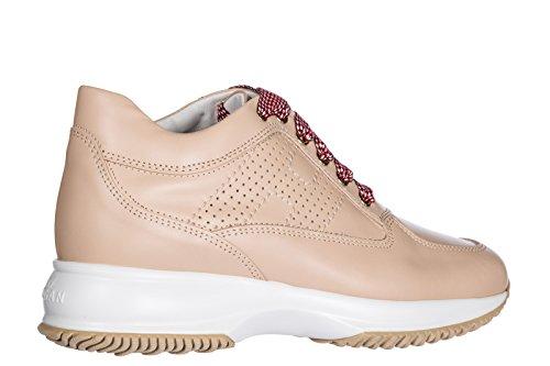 Hogan Donna Sneakers Donna Pelle Scarpe Sneakers Interactive Beige