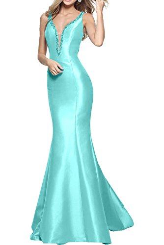 Blau Braut Damen Ballkleider Marie Tuerkis Lang Brautjungfernkleider Abendkleider Einfach Meerjungfrau Neuheit La xXgE51w5