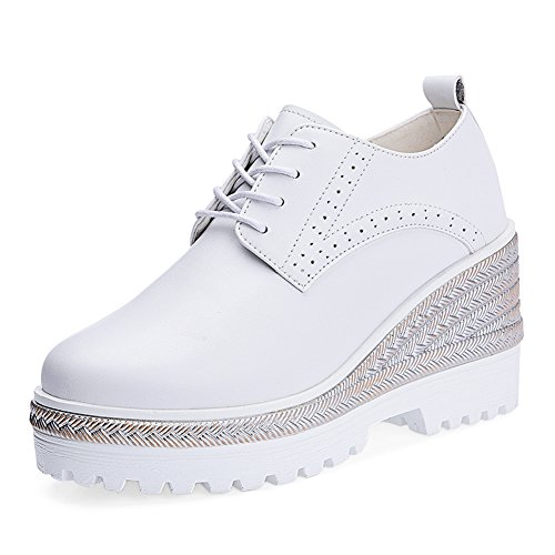 zapatos negros/con suela gruesa en el otoño/Alta con la versión coreana de los zapatos de plataforma Joker estudiante A