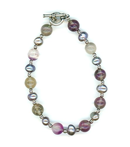 Sterling Silver Rainbow Fluorite Pearls Beaded Toggle Bracelet 8 Inches - 8in Toggle Bracelet