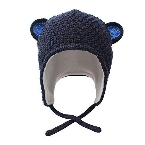 XIAOHAWANG Baby Boy Girls Hats Cute Bear Knit Winter Toddler Beanies Earflap Fleece Lining Infant Baby Caps Warm Chin Straps