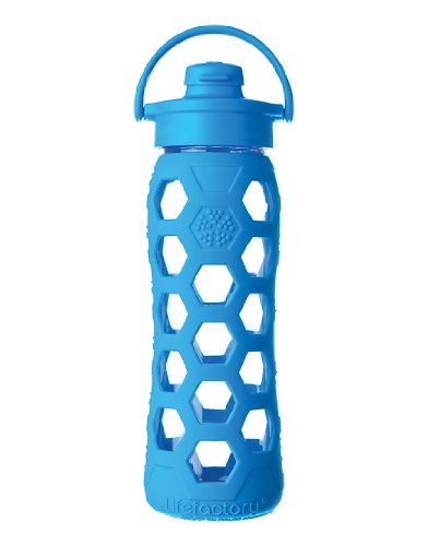 Lifefactory 22-Ounce Glass Beverage Bottle with Flip Top Cap, Ocean, Appliances for Home