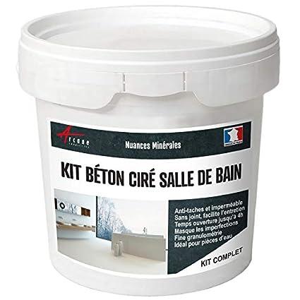 Béton ciré salle de bain douche italienne pièce d\'eau KIT BETON CIRE SALLE  DE BAINS - DOUCHE ITALIENNE - Chinchilla - Gris Beige - kit 2 m² (2 ...