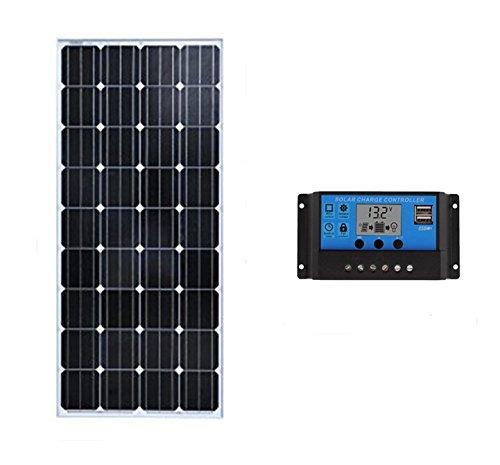 SAYA ソーラーパネル単結晶100W 家庭用 20A 12v/24vチャージャーコントローラー1個 B075FWYNW9