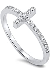 Christian Sideway Cross Cubic Zirconia Ring Sterling Silver 925 (Sizes 3-15)
