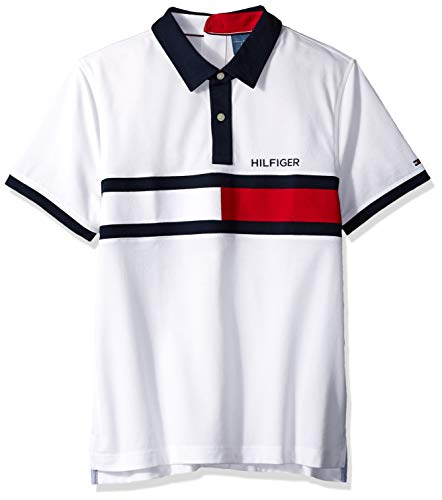 (Tommy Hilfiger Men's Seated Polo Shirt with Magnetic Buttons Custom Fit, Bright White X Large)