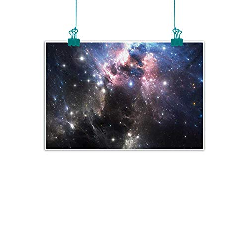 Frameless Decorative Painting Constellation Giant Nebula in Vivid Colors Space Motion Supernova Futuristic Home and Everything W35 xL24 Pale Pink Blue Black