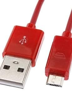NBCVFUINJ® Micro USB a USB macho a macho Cable de datos para Samsung / Huawei / ZTE / Nokia / HTC Red (1M)