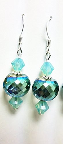 Iridescent Aqua Disco Bead and Austrian Crystal Dangle Earrings - 50 Shades of Teal