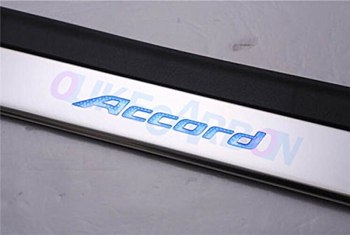OLIKE for Honda Accord 2013 14 15 16 2017 9TH Sedan Hatchback Fashion Style ABS+Chrome LED Door Sill Scuff Plate Guard Sills Protector Trim (Blue)